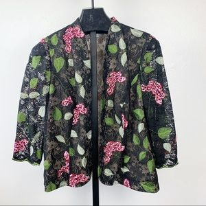 Victor Costa Blazer Floral Embroidered Lace Jacket